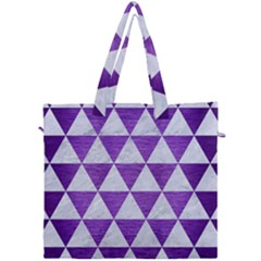 Triangle3 White Marble & Purple Brushed Metal Canvas Travel Bag