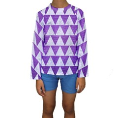 Triangle2 White Marble & Purple Brushed Metal Kids  Long Sleeve Swimwear