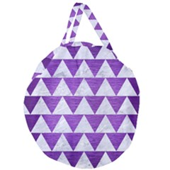 Triangle2 White Marble & Purple Brushed Metal Giant Round Zipper Tote