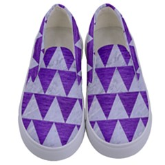 Triangle2 White Marble & Purple Brushed Metal Kids  Canvas Slip Ons