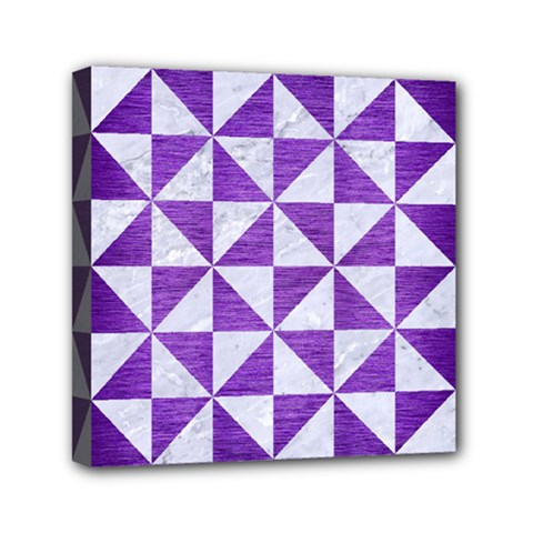 Triangle1 White Marble & Purple Brushed Metal Mini Canvas 6  X 6