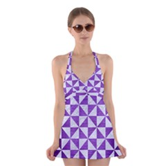 Triangle1 White Marble & Purple Brushed Metal Halter Dress Swimsuit