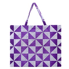 Triangle1 White Marble & Purple Brushed Metal Zipper Large Tote Bag