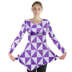 Triangle1 White Marble & Purple Brushed Metal Long Sleeve Tunic
