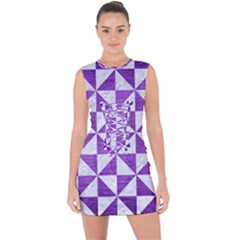 Triangle1 White Marble & Purple Brushed Metal Lace Up Front Bodycon Dress