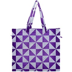 Triangle1 White Marble & Purple Brushed Metal Canvas Travel Bag