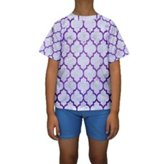 Tile1 White Marble & Purple Brushed Metal (r) Kids  Short Sleeve Swimwear