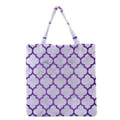 Tile1 White Marble & Purple Brushed Metal (r) Grocery Tote Bag