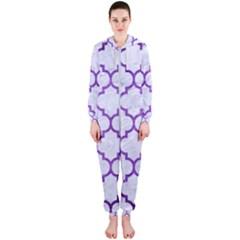 Tile1 White Marble & Purple Brushed Metal (r) Hooded Jumpsuit (ladies)