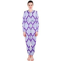 Tile1 White Marble & Purple Brushed Metal (r) Onepiece Jumpsuit (ladies)