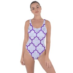 Tile1 White Marble & Purple Brushed Metal (r) Bring Sexy Back Swimsuit