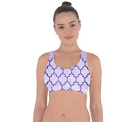 Tile1 White Marble & Purple Brushed Metal (r) Cross String Back Sports Bra