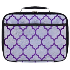 Tile1 White Marble & Purple Brushed Metal (r) Full Print Lunch Bag
