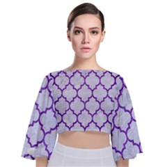 Tile1 White Marble & Purple Brushed Metal (r) Tie Back Butterfly Sleeve Chiffon Top