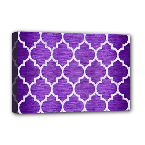Tile1 White Marble & Purple Brushed Metal Deluxe Canvas 18  X 12