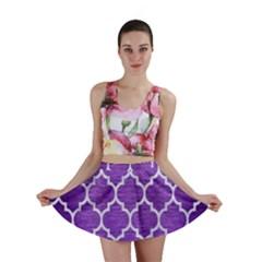 Tile1 White Marble & Purple Brushed Metal Mini Skirt