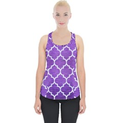 Tile1 White Marble & Purple Brushed Metal Piece Up Tank Top