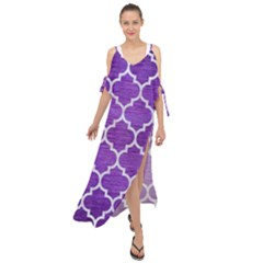 Tile1 White Marble & Purple Brushed Metal Maxi Chiffon Cover Up Dress