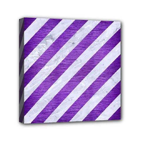 Stripes3 White Marble & Purple Brushed Metal (r) Mini Canvas 6  X 6  by trendistuff