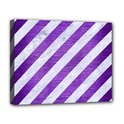 Stripes3 White Marble & Purple Brushed Metal (r) Deluxe Canvas 20  X 16