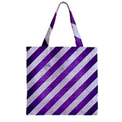 Stripes3 White Marble & Purple Brushed Metal (r) Zipper Grocery Tote Bag