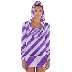 Stripes3 White Marble & Purple Brushed Metal (r) Long Sleeve Hooded T Shirt