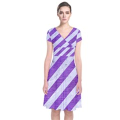 Stripes3 White Marble & Purple Brushed Metal (r) Short Sleeve Front Wrap Dress