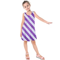 Stripes3 White Marble & Purple Brushed Metal Kids  Sleeveless Dress