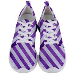 Stripes3 White Marble & Purple Brushed Metal Men s Lightweight Sports Shoes