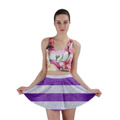 Stripes2white Marble & Purple Brushed Metal Mini Skirt