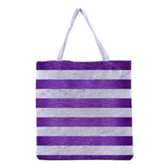Stripes2white Marble & Purple Brushed Metal Grocery Tote Bag