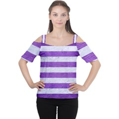 Stripes2white Marble & Purple Brushed Metal Cutout Shoulder Tee