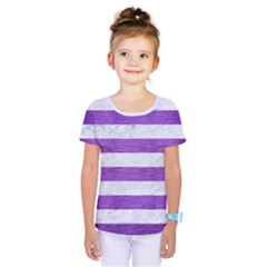 Stripes2white Marble & Purple Brushed Metal Kids  One Piece Tee