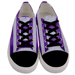 Stripes2white Marble & Purple Brushed Metal Men s Low Top Canvas Sneakers