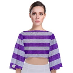Stripes2white Marble & Purple Brushed Metal Tie Back Butterfly Sleeve Chiffon Top