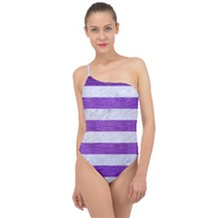 Stripes2white Marble & Purple Brushed Metal Classic One Shoulder Swimsuit