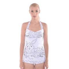 Coloring Picture Easter Easter Bunny Boyleg Halter Swimsuit