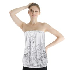 Coloring Picture Easter Easter Bunny Strapless Top