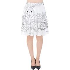 Coloring Picture Easter Easter Bunny Velvet High Waist Skirt