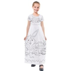 Coloring Picture Easter Easter Bunny Kids  Short Sleeve Maxi Dress