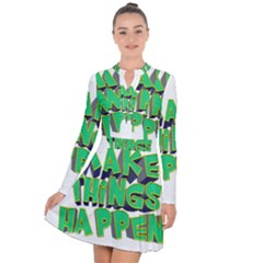 Act Do Text Make Tackle Implement Long Sleeve Panel Dress