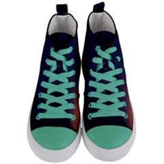 Nature Night Colorful Landscape Women s Mid Top Canvas Sneakers