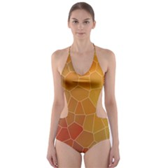 Colors Modern Contemporary Graphic Cut Out One Piece Swimsuit