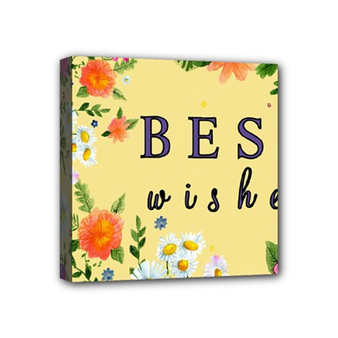 Best Wishes Yellow Flower Greeting Mini Canvas 4  X 4  by Sapixe