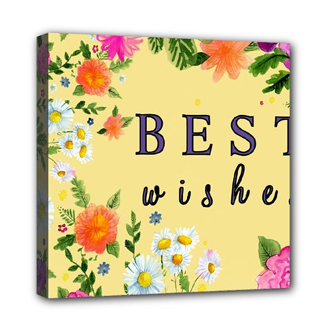 Best Wishes Yellow Flower Greeting Mini Canvas 8  X 8  by Sapixe