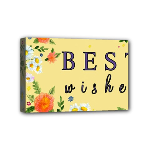 Best Wishes Yellow Flower Greeting Mini Canvas 6  X 4  by Sapixe