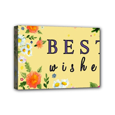 Best Wishes Yellow Flower Greeting Mini Canvas 7  X 5  by Sapixe