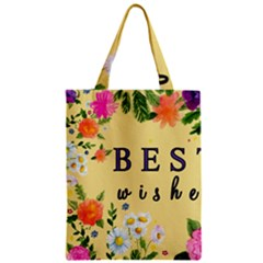 Best Wishes Yellow Flower Greeting Zipper Classic Tote Bag