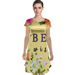 Best Wishes Yellow Flower Greeting Cap Sleeve Nightdress