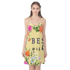 Best Wishes Yellow Flower Greeting Camis Nightgown